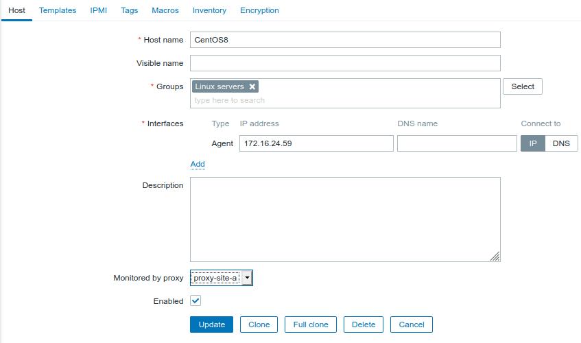 Zabbix host configuration screen with Monitored by proxy setting set to proxy-site-a