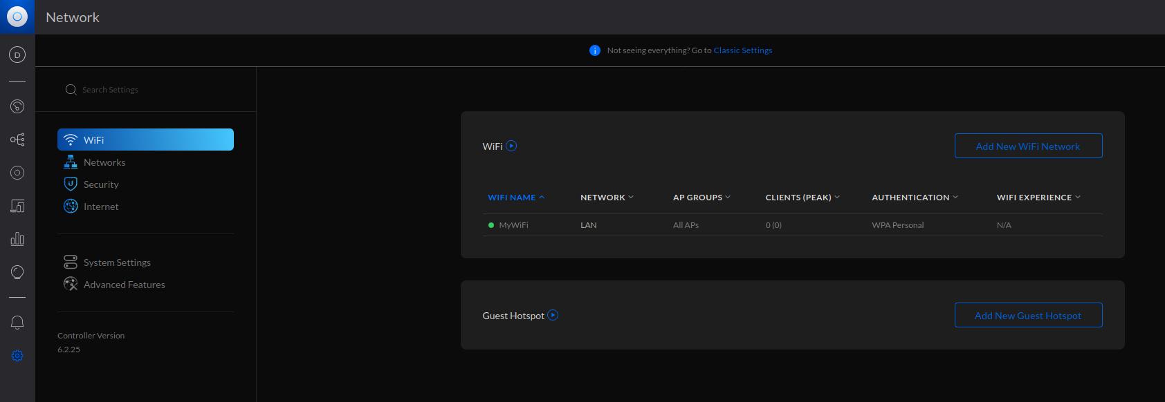 Header image. UniFi settings page